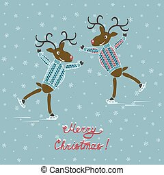 Christmas deers on skates