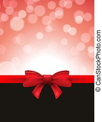 Christmas defocused bokeh background with red bow. Gift card holiday celebration invitation xmas