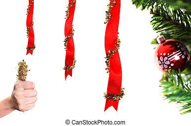 christmas dekoráció, felett, fehér, noha, lapozgat feláll