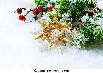 christmas dekoráció, felett, hó, háttér