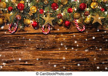 christmas dekoráció, noha, fenyő, elágazik, képben látható, wooden élelmezés