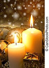 christmas dekoráció, noha, gyertya
