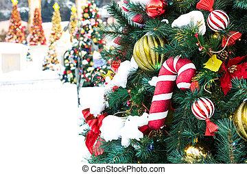 christmas dekoráció, noha, hó