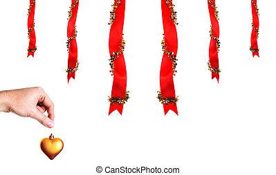 christmas dekoráció, noha, kéz, és, szív