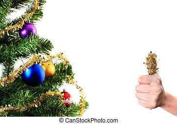 christmas dekoráció, noha, lapozgat feláll