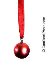 christmas dekoráció, noha, szalag, és, csecsebecse