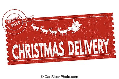 Christmas delivery grunge rubber stamp on white background,...