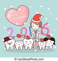 christmas dentist with tooth family
