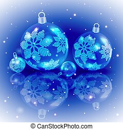 Christmas design blue colors with a set of Christmas shiny balls with snowflakes.