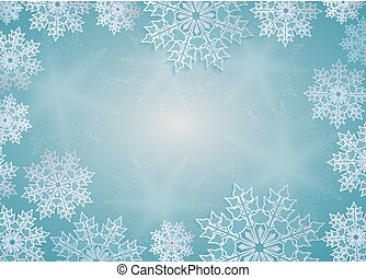Christmas design blue with elegant white snowflakes, frame.