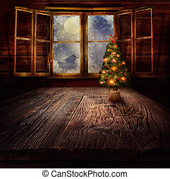 Christmas design - Christmas tree. Xmas winter background in...