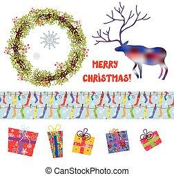 Christmas design elements set - funny hand drawn cartoons