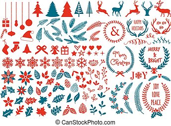 Christmas design elements, vector - Big Christmas set with...