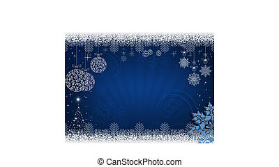Christmas design in blue with rays of light, balls in retro style and shiny Christmas tree.