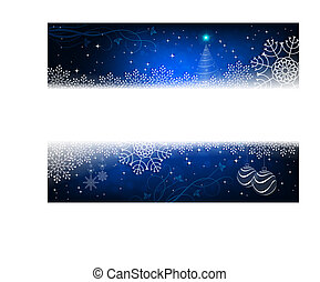 Christmas design in blue with snowflakes, glitter, small tree and balls.