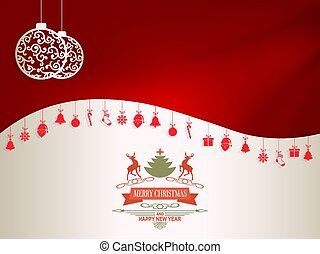 Christmas design in dark red and white with pendants and text with deers
