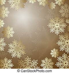 Christmas design in gold color with elegant snowflakes,