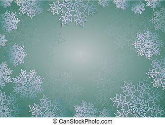 Christmas design in green with beautiful white snowflakes, frame.