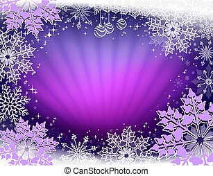 Christmas design in purple with rays of light and beautiful snowflakes.