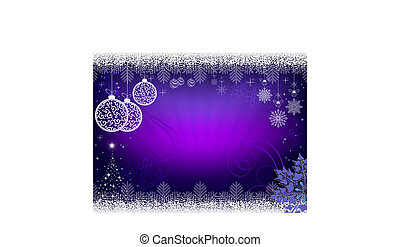 Christmas design in purple with rays of light, balls in retro style and shiny Christmas tree.