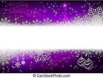 Christmas design in purple with snowflakes, glitter, small tree and balls,