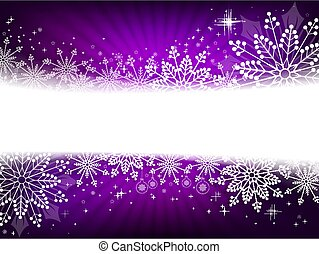 Christmas design in purple with snowflakes, sparkles and balls.