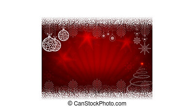 Christmas design in red with rays of light, balls in retro style and Christmas tree.