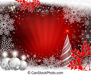 Christmas design in red with rays of light, Christmas tree, white balls and beautiful snowflakes.