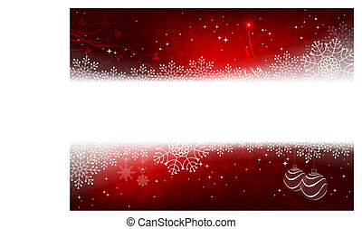 Christmas design in red with snowflakes, glitter, small tree and balls