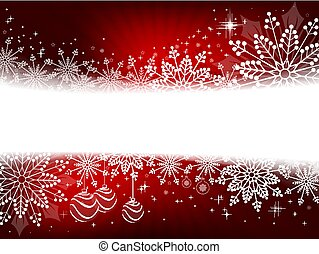 Christmas design in red with snowflakes, sparkles and balls,