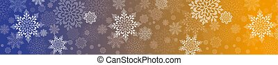 Christmas design in yellow and blue with a set of graceful white snowflakes