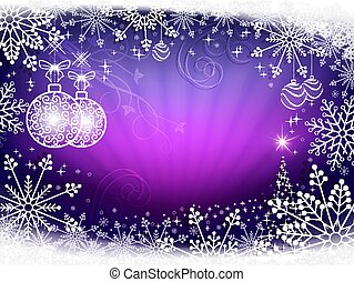 Christmas design light purple with rays of light, balls in retro style and shiny Christmas tree.