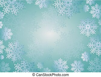 Christmas design light turquoise color with elegant white snowflakes,