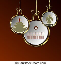 Christmas design of abstract balls with silhouettes of a tree and an angel with a gold border.