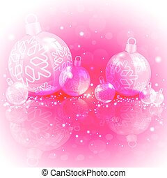 Christmas design of red, maminated with shiny balls