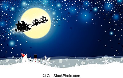 Christmas design of santa claus and reindeer in front of the moonlight