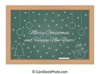 Christmas design on chalkboard