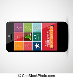 Christmas Design on Mobile Phone Screen - Vector