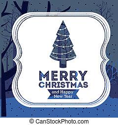 Christmas design over blue background, vector illustration
