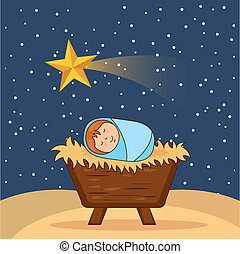 Black and White Baby Jesus in a Manger clipart. Commercial use GIF, WMF,  SVG clipart # 143650   Graphics Factory