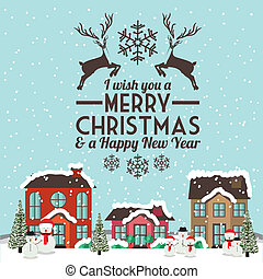 Christmas design over townscape background, vector illustration