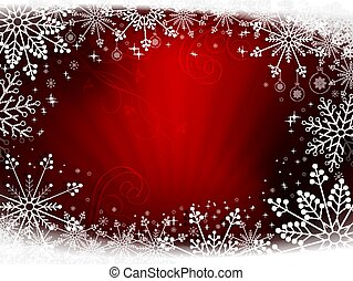 Christmas design red with rays of light and beautiful snowflakes.