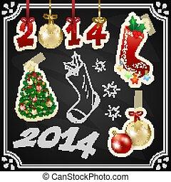 Christmas design set on the chalkboard, vector