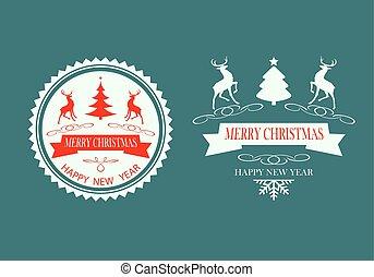 Christmas design silhouette reindeer set