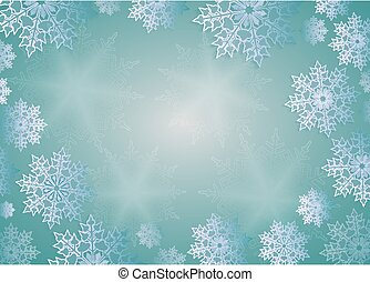 Christmas design turquoise color with rays of light, elegant white snowflakes, frame.