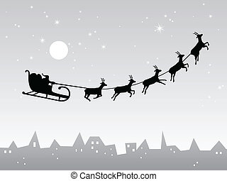Christmas design - vector illustration of santa`s sleigh ...