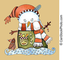 Christmas design. Watercolor snowman