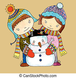 Christmas design. Watercolor snowman with boy and girl