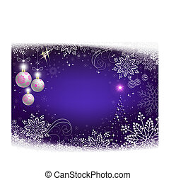 Christmas design white balls, snowflakes and abstract Christmas tree.