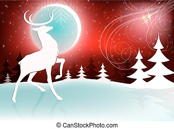 Christmas design with a bright moon and a deer